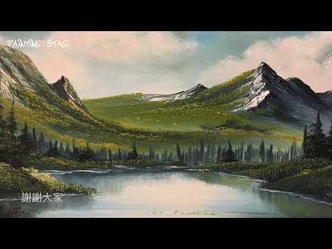 painting stage油畫教學 春天的雪山