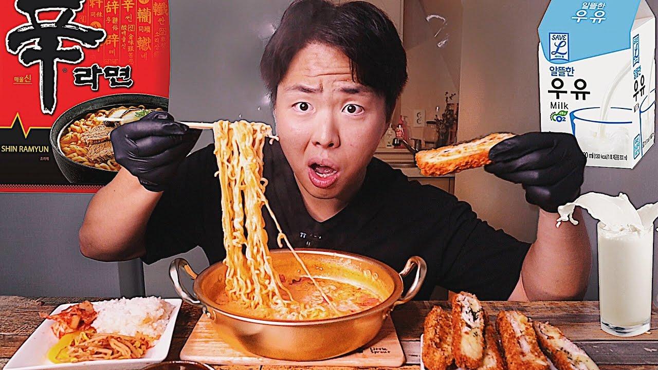 РАМЁН НА МОЛОКЕ! Корейцы в Шоке! Рецепт, Мукбанг. Королевский Доширак