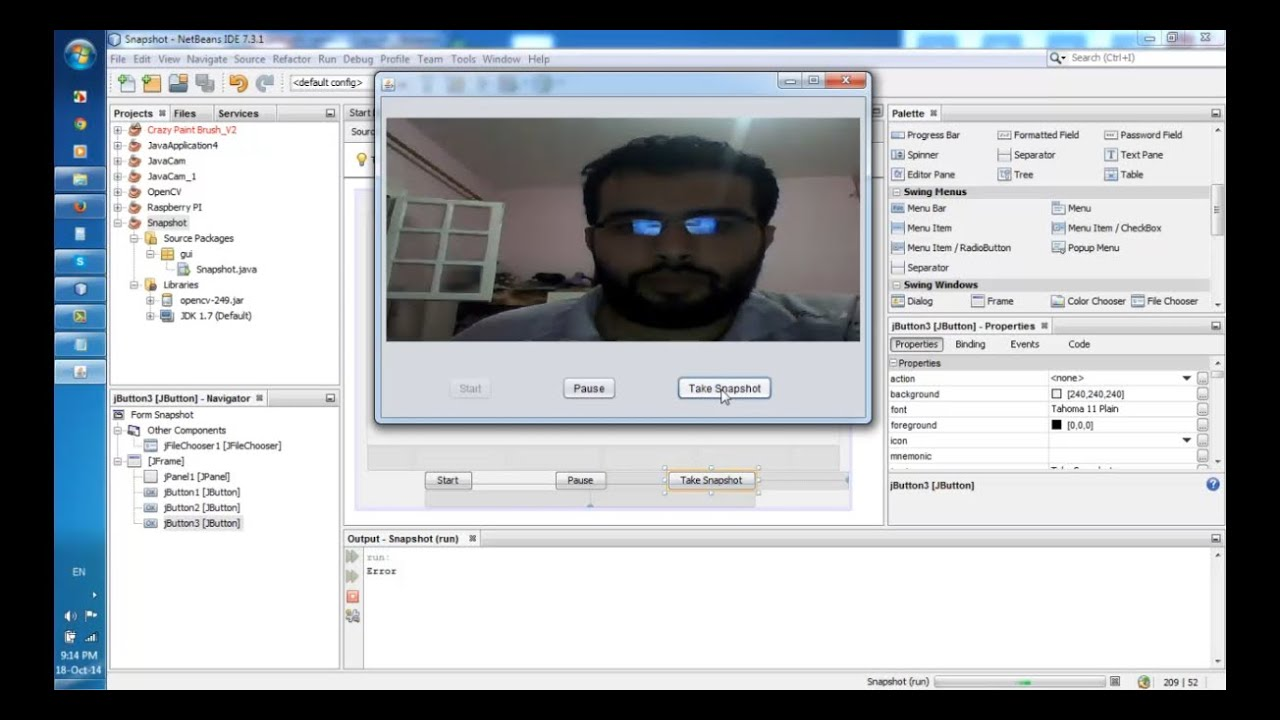 How to take a snapshot from WebCam and save it using Java