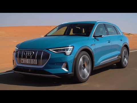 Journalists test drive the Audi e-tron in Abu Dhabi