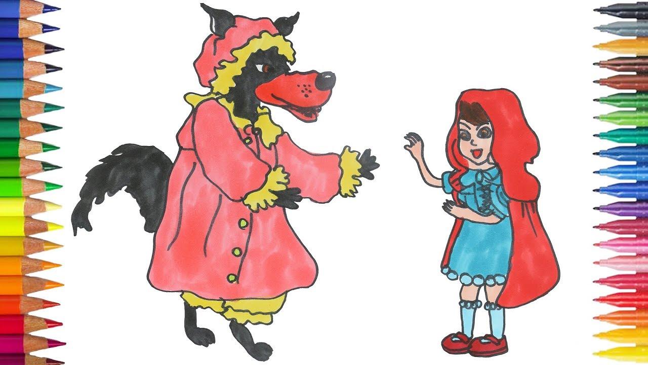 Caperucita Roja Y El Lobo Feroz Dibujar Y Pintar Youtube
