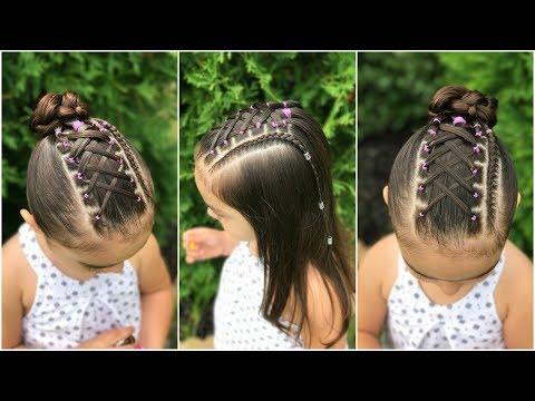 Peinado Para Nina Con Ligas Cruzadas Y Trenza Pegada Peinado Para