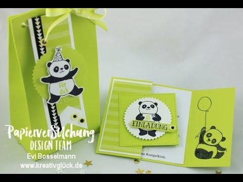 Tutorial, Einladungskarte zum Geburtstag , Stampin`UP!, Party-Pandas