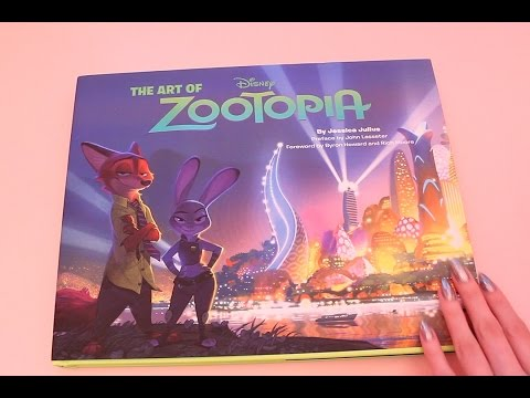 Exploring the Art of Zootopia Book (ASMR mostly whisper, page turning)