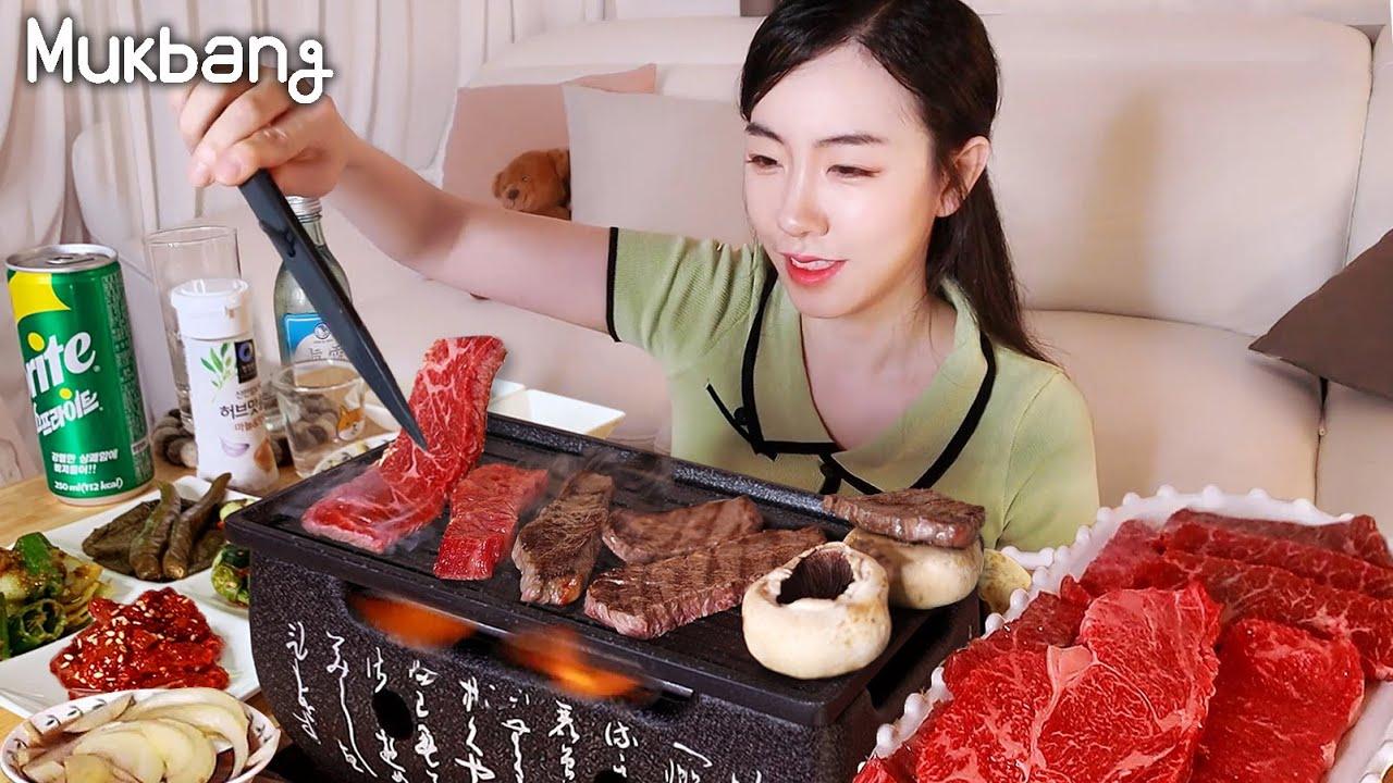 """Really delicious Korean beef  """"Hanwoo""""🥩  Healing Mukbang 😍"""