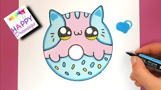Drawing + Painting : How to Draw a Super CUTE Baby KITTEN DONUT - EASY DRAWING