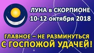 ЛУНА в знаке СКОРПИОН с 10 по 12 октября 2018. Главное – не разминуться с Госпожой Удачей!