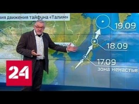 "Погода 24: к Приморью и Сахалину подошел тайфун ""Талим"" - Россия 24"