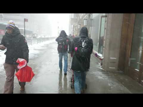 Walking to Central Park in 2018 Blizzard Snow. New York City Unedited