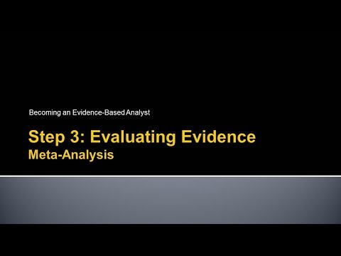 Becoming an Evidence-Based Analyst: Step 3 - Evaluating the Evidence: Meta-Analysis
