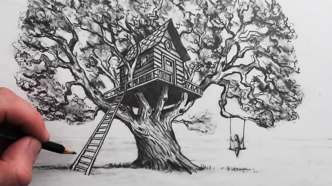 How To Draw A Realistic Tree House In 2 Point Perspective Youtube This cartoon tree is getting better and better! how to draw a realistic tree house in 2 point perspective