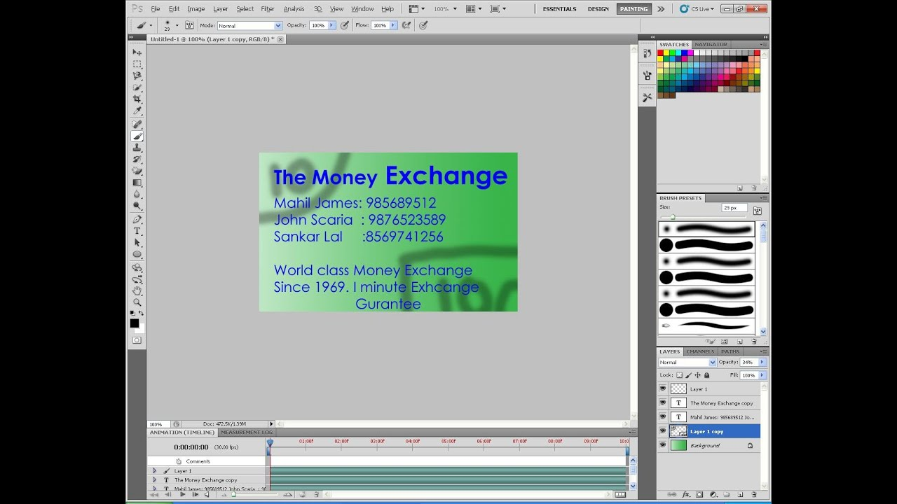 How to make a visiting card with Photoshop Cs5 - YouTube