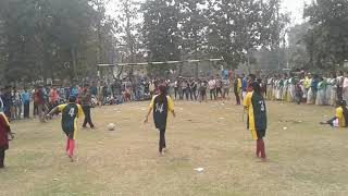 Girl football game in school