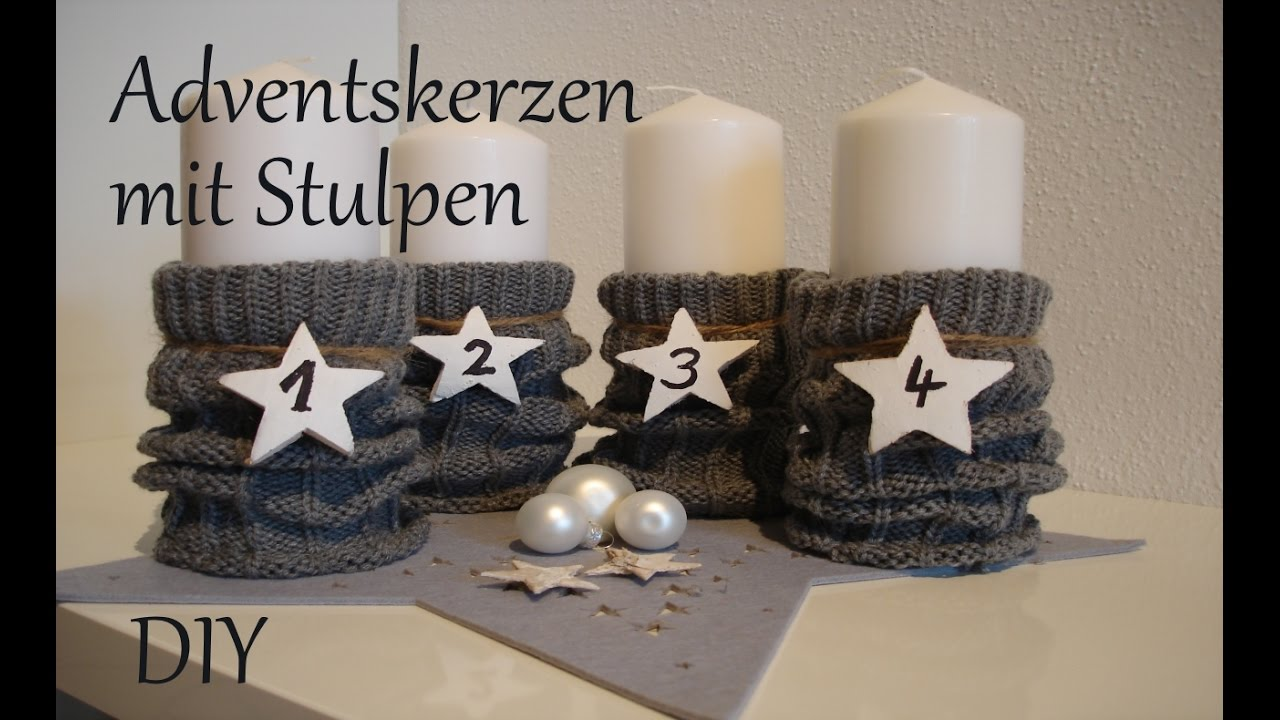 diy adventskerzen mit stulpen last minute adventskranz. Black Bedroom Furniture Sets. Home Design Ideas