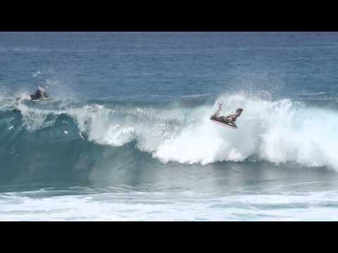 Body Boarding Big Waves Magic Sands Beach Park in Kona, Hawaii
