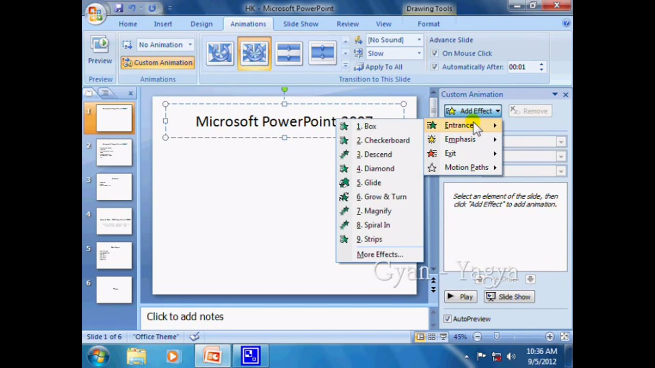 MS Power point 2007 | tutorial for animation tab| How to make word/latter  animated | एनिमेटेड शब्द