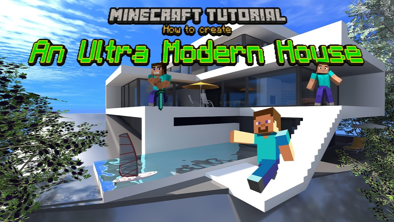 Ultra Modern Houses Minecraft Tutorial Ultra Modern House Youtube