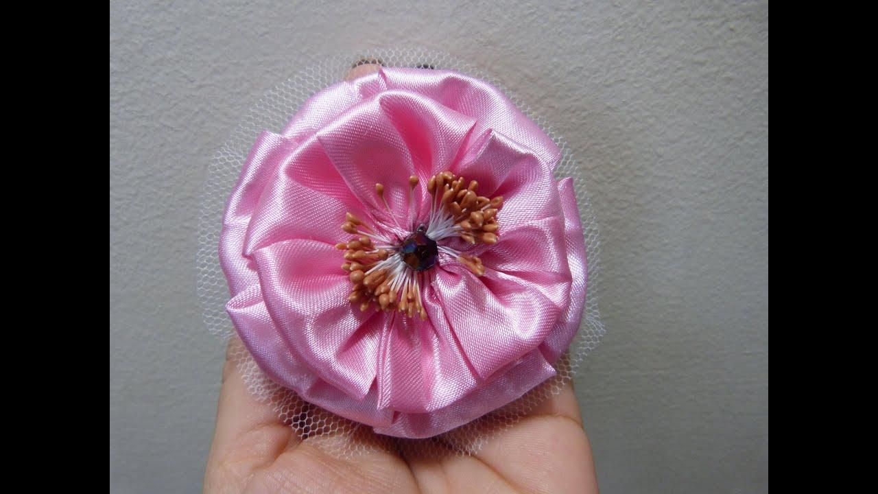 Como hacer flores con tela lazo de flor para ni as how to - Como hacer flores ...