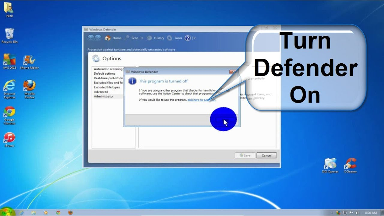 windows defender win 7 turn on