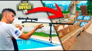 FRANCOTIRADOR VS TRAMPOLIN VOLANDO !! RETOS FORTNITE - PATIO DE JUEGOS EP 1 Makiman