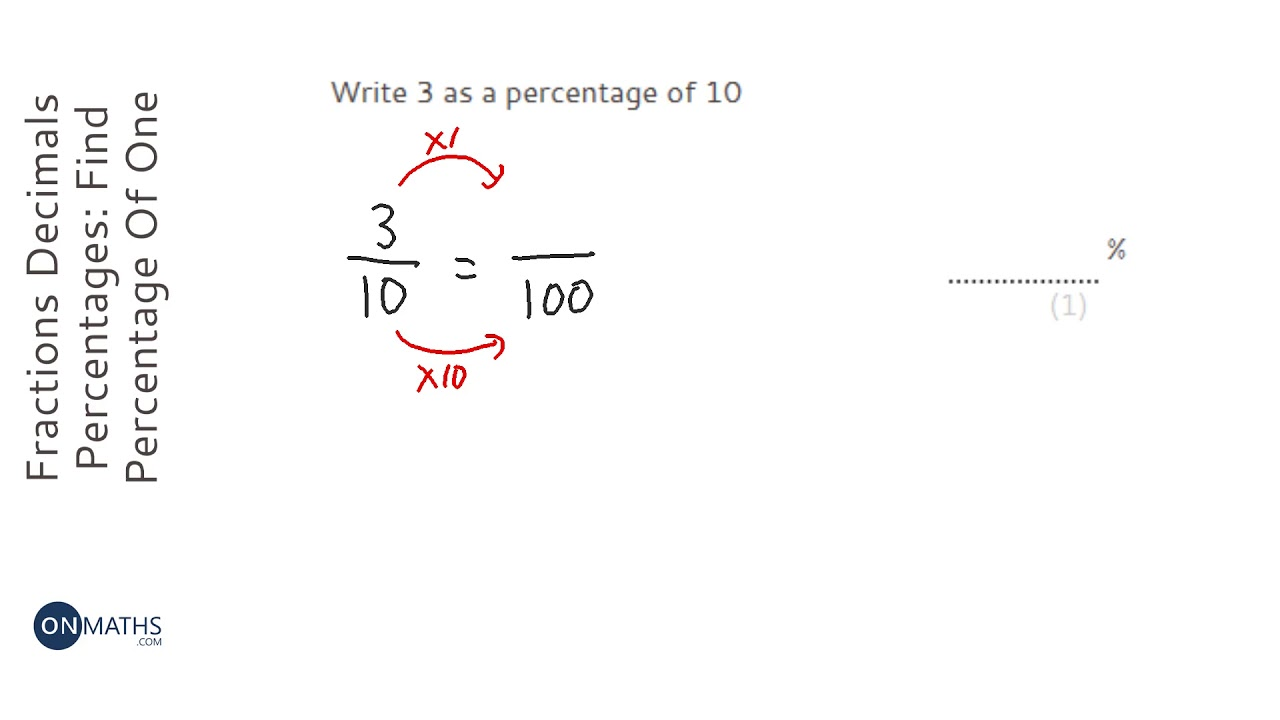 Fractions Decimals Percentages Find Percentage Of Quantity To