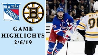 New York Rangers vs. Boston Bruins | GAME HIGHLIGHTS | 2/6/19 | NHL | NBC Sports