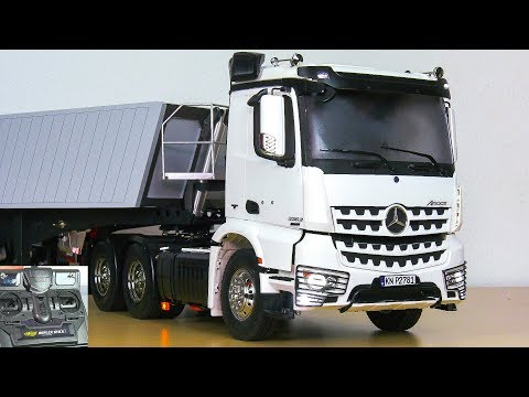 UNBOXING RC TRUCK MB MERCEDES-BENZ AROCS 3363 WITH CARSON TRAILER!! *FIRST TEST video download