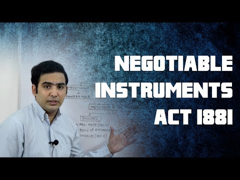 The Negotiable Instruments Act 1881 Part 1 by Advocate Sanyog Vyas