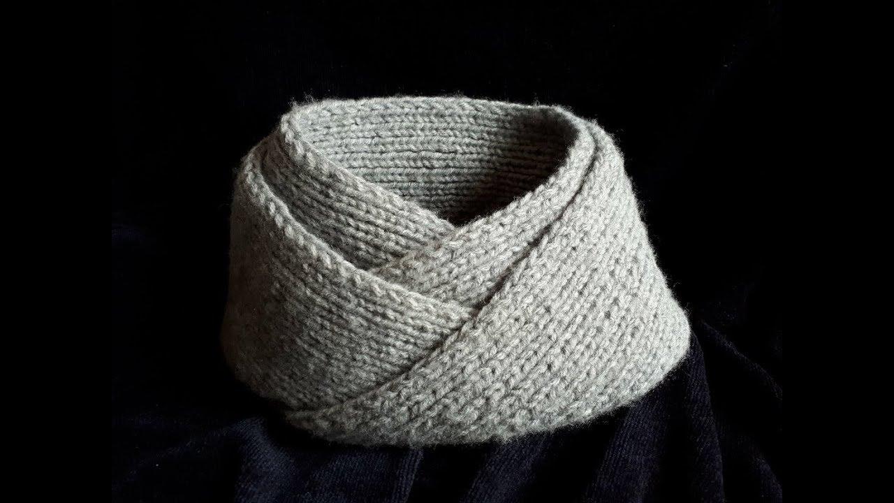 Bufanda infinita   Cuello para hombre facil y rapido tejido en dos agujas -  punto moebius c5d0da0b06a6
