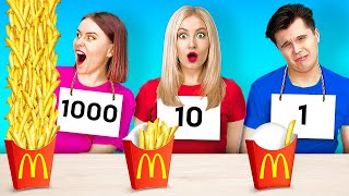 100 LAYERS FOOD CHALLENGE FOR REAL FOODIES!  100 Yummy French Fries by 123 Go! GENIUS