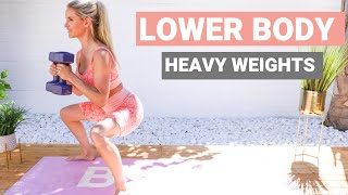 LOWER BODY workout with WEIGHTS - best exercises for BUTT & LEGS | Rebecca Louise