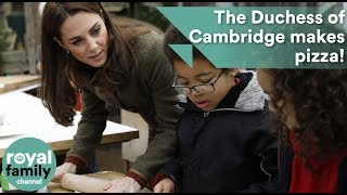 The Duchess of Cambridge makes pizza during community garden visit