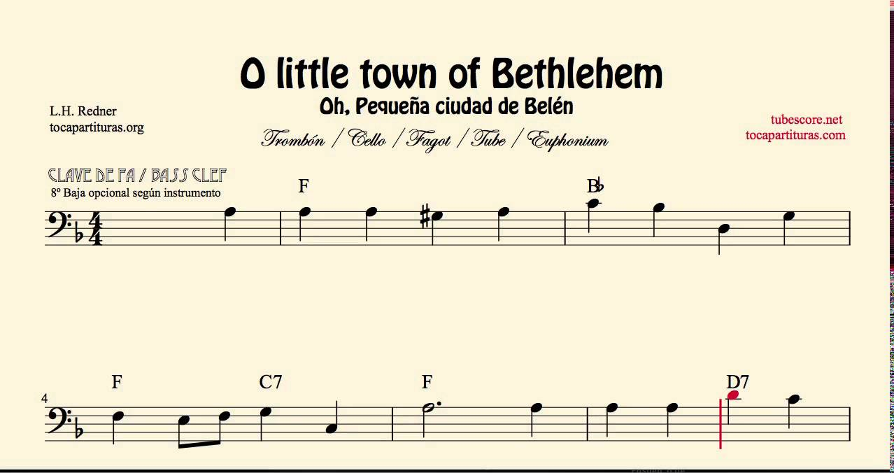 O Little Town Of Bethlehem Sheet Music For Trombone Cello Bassoon