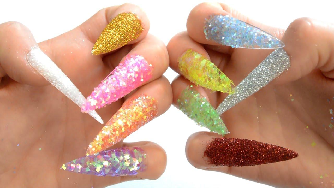 Learn Colors Surprise Nail Arts Glitter Tip 10 Colours Teach Kids Children Video