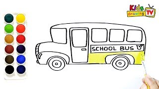 How To Draw A School Bus Drawing And Coloring Pages For Kids Kids Drawing Tv تونس Vlip Lv