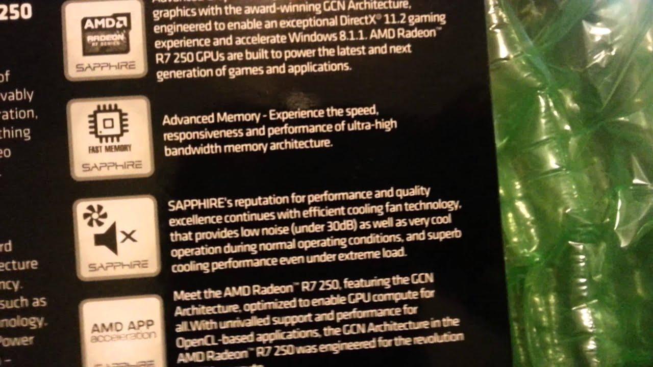 unboxing video Sapphire Radeon R7 250 2GB DDR3