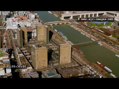 Aerial Footage Paris The BNF National Library François Mitterrand