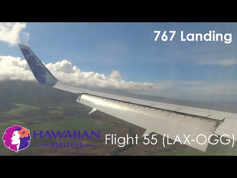 Hawaiian Airlines 767-300ER Turbulent and Windy Approach and Firm Landing in Kahului, Maui