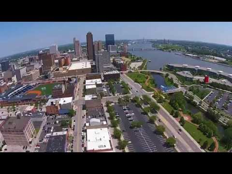 Beautiful Aerial Video of Toledo Skyline seen from DJI Phantom just south of the City