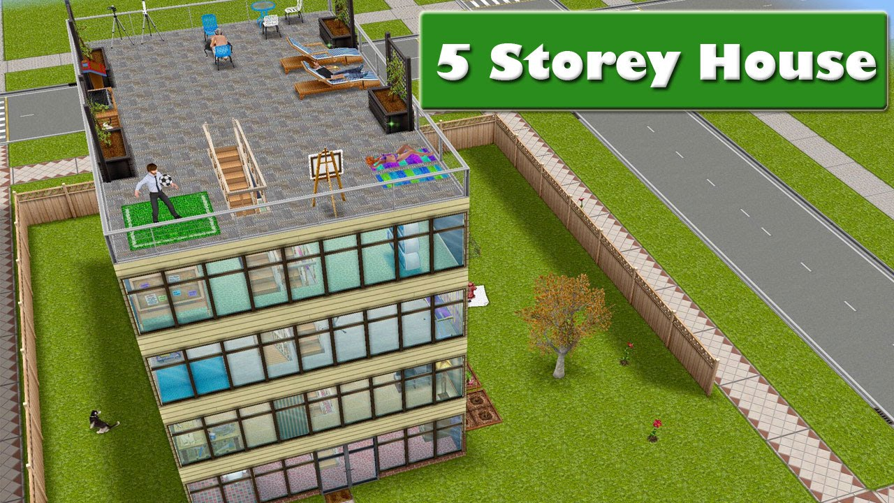 Sims freeplay 5 storey house youtube for How to make a second floor on sims freeplay