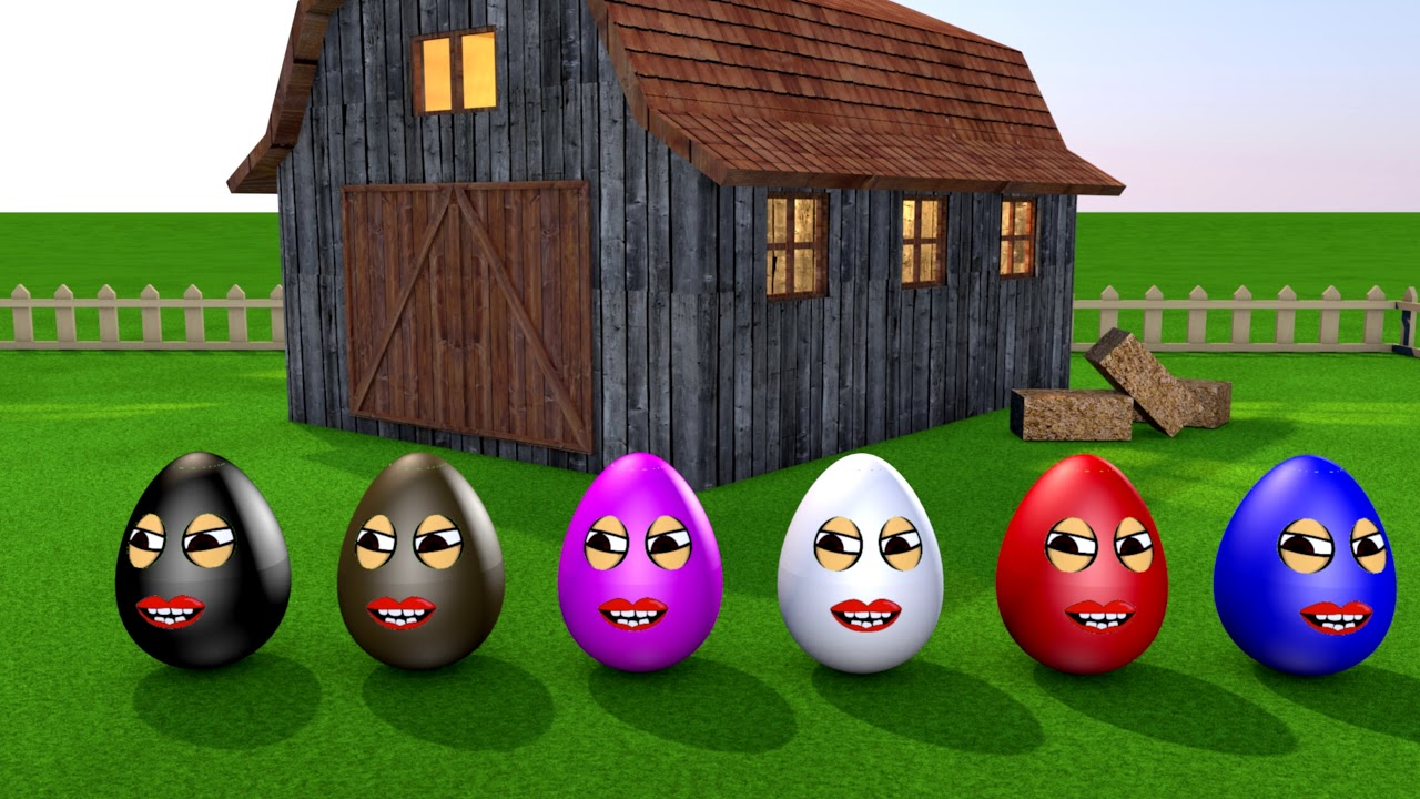 Learn colors - Colorful eggs on the farm - YouTube
