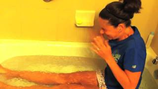 Runners Ice Bath Therapy for Tired Worn Out Expo Legs Running Skirts Behing the Scenes