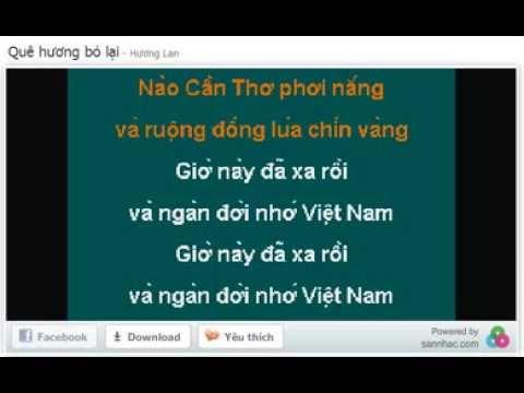 QUE HUONG BO LAI - HUONG LAN - KARAOKE