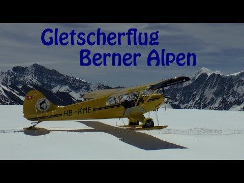 Gletscherflug Berner Alpen || Skiplane flight Switzerland