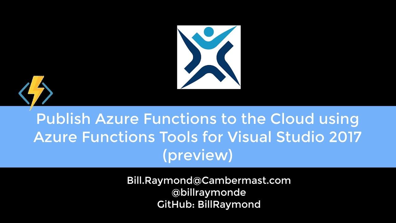 Publish Azure Functions to Azure using Visual Studio Tools for Azure