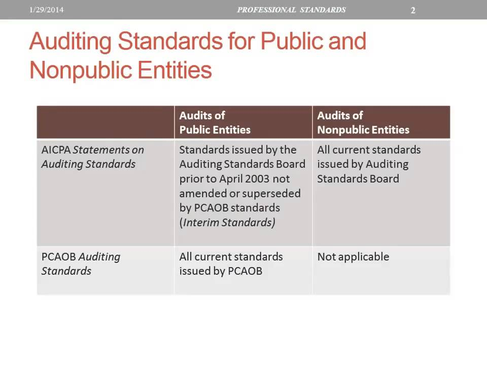 Auditing Standards For Public And Nonpublic Entities Youtube