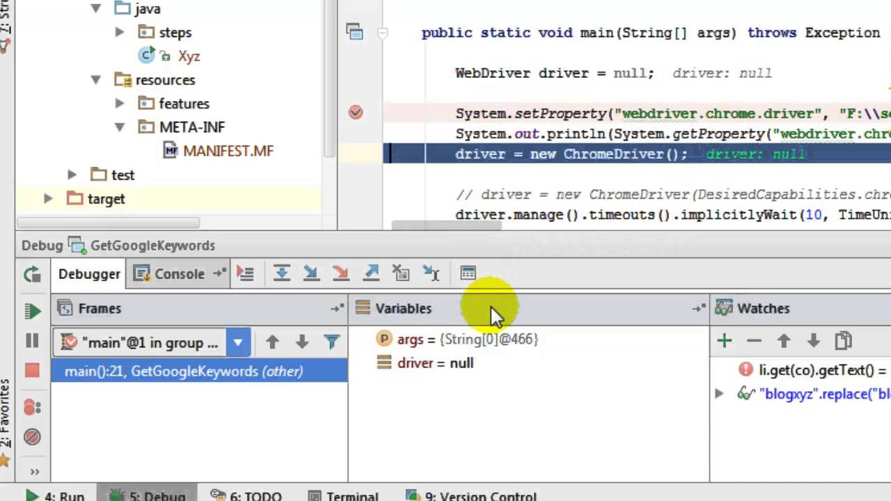 How to set debug breakpoint in intellij IDEA