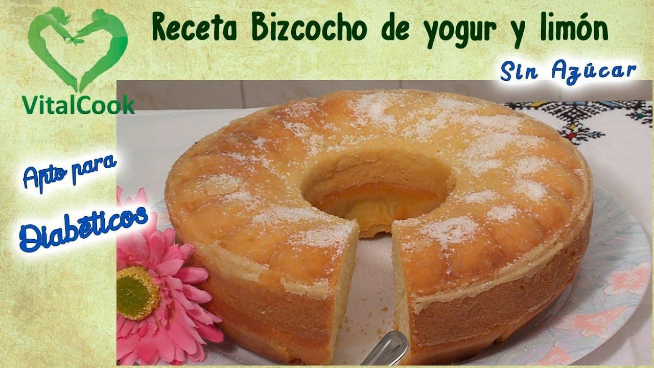 Bizcocho de yogur y limón Sin azúcar apto para diabéticos