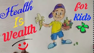 How to Draw Eating Healthy Food Drawing for kids step by step  ||Health is Wealth coloring drawing||