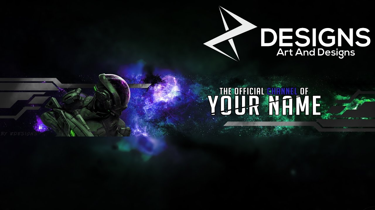 New Free 2017 Galaxy Gaming Banner YouTube Template PSD YouTube
